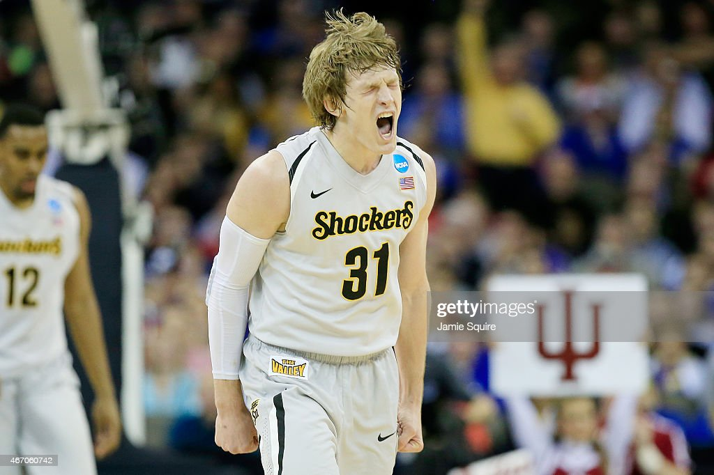 Ron Baker #31 of the Wichita State Shockers reacts in the second half against the Indiana Hoosiers during the second round of the 2015 NCAA Men's Basketball Tournament at the CenturyLink Center on March 20, 2015 in Omaha, Nebraska.