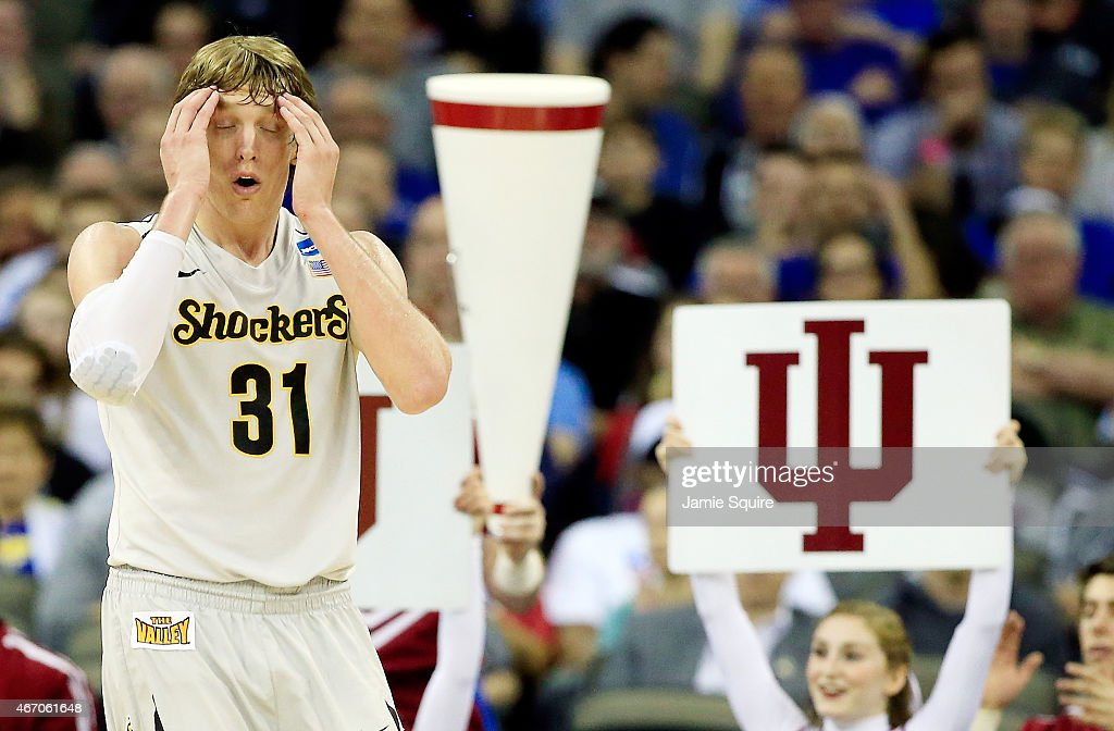Ron Baker #31 of the Wichita State Shockers reacts to a foul in the second half against the Indiana Hoosiers during the second round of the 2015 NCAA Men's Basketball Tournament at the CenturyLink Center on March 20, 2015 in Omaha, Nebraska.