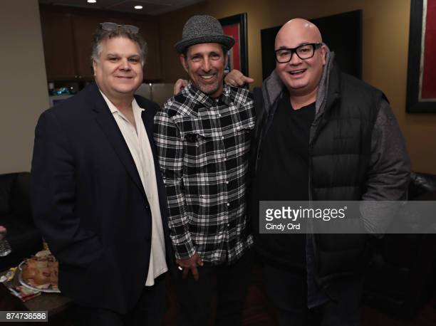 Ron Bennington Rich Vos and Robert Kelly pose for a photo backstage during SiriusXM host Ron Bennington's annual Thanksgiving Special at Hard Rock...