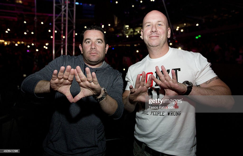 Ron Berkowitz and Brian Axelrod attends the D'USSE VIP Riser and Lounge at On The Run Tour Chicago at Soldier Field on July 24, 2014 in Chicago, Illinois.