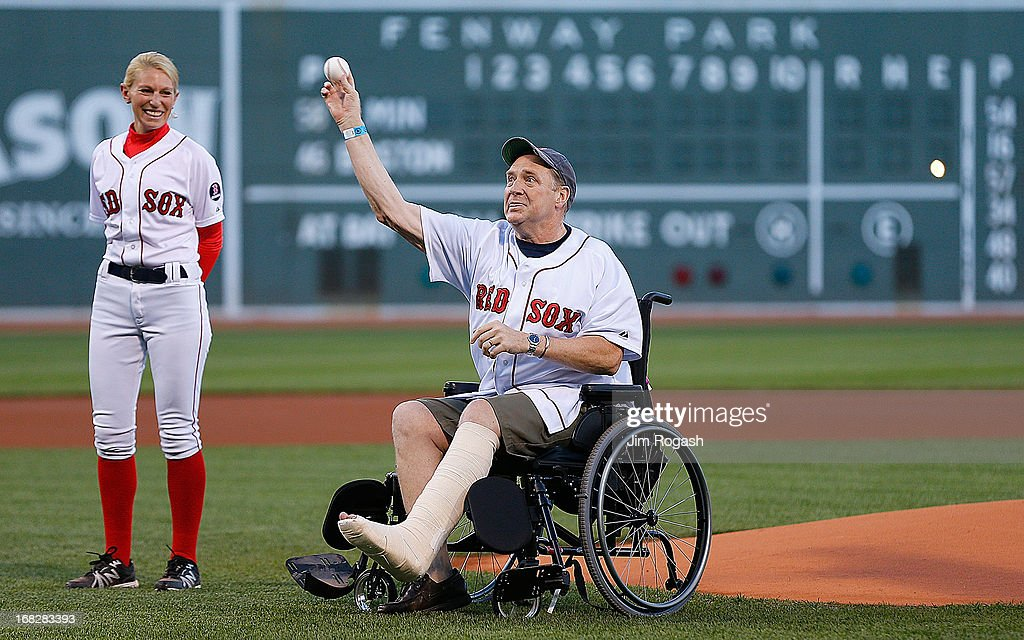 Ron Brassard from New Hampshire, who was injured in the Boston Marathon bombings, throws out a ceremonial pitch before a game between Minnesota Twins and the Boston Red Sox in the 1st inning at Fenway Park on May 7, 2013 in Boston, Massachusetts.
