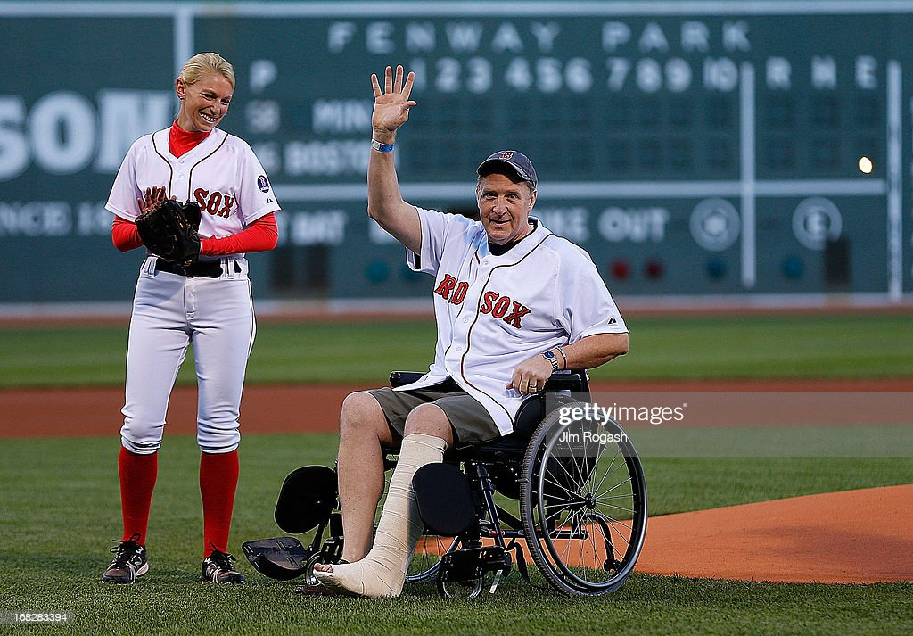Ron Brassard from New Hampshire, who was injured in the Boston Marathon bombings reacts to cheers before a game between Minnesota Twins and the Boston Red Sox in the 1st inning at Fenway Park on May 7, 2013 in Boston, Massachusetts.