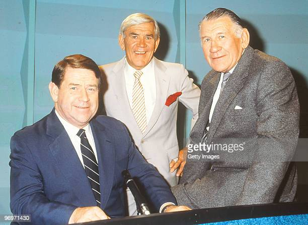 Ron Casey Lou Richards and Jack Dyer of the Channel Seven 'World of Sport' television program pose in Melbourne Australia