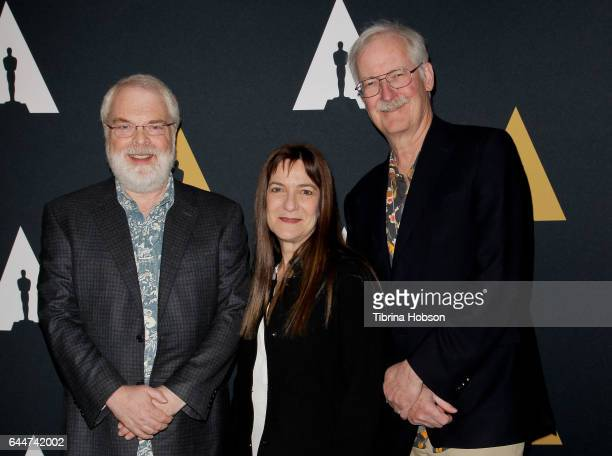 Ron Clements Osnat Shurer and John Musker attend the 89th Annual Academy Awards Oscar Week celebration for Animated Features at Samuel Goldwyn...