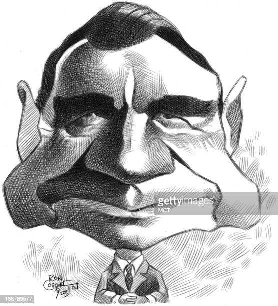 Ron Coddington caricature of Finnish President Mauno Koivisto