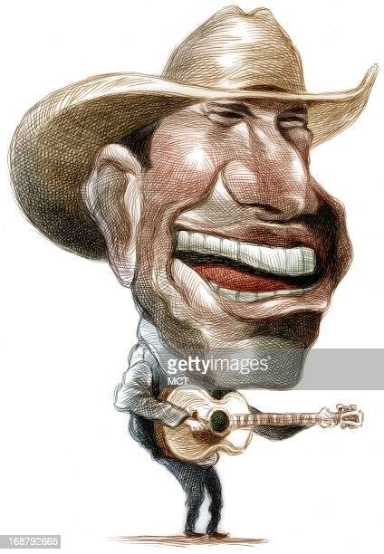 Ron Coddington color caricature of country music star George Strait