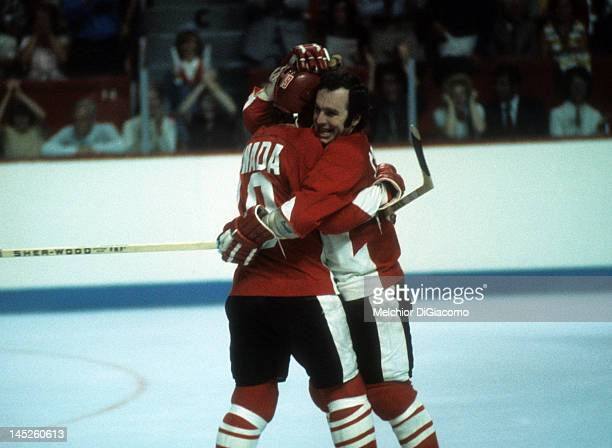Ron Ellis and Paul Henderson of Canada celebrate a goal during Game 1 of the 1972 Summit Series against the Soviet Union on September 2 1972 at the...