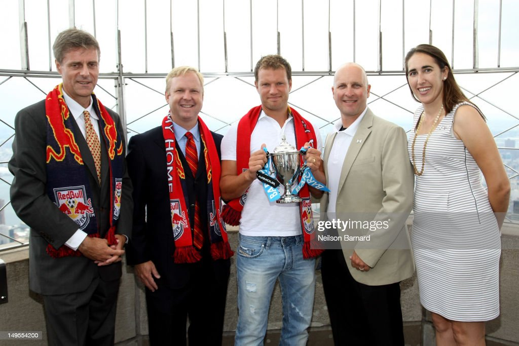 Ron Erskine, Chris Heck, Teemu Tainio, Sean Flynn and Ann Rodriguez visit The Empire State Building's world famous observatory to promote the Barclays New York Cup Powered By Under Armour on July 30, 2012 in New York City.
