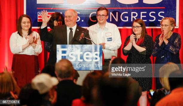 Ron Estes acknowledges the crowd after his acceptance speech during his watch party at the Marriott Tuesday April 11 2017 in Wichita Kan The...