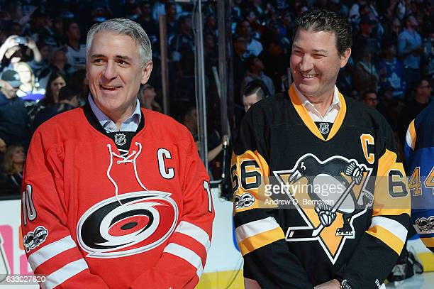 Ron Francis and Mario Lemieux of the NHL 100 stand on the ice prior to the 2017 Honda NHL AllStar Game at Staples Center on January 29 2017 in Los...