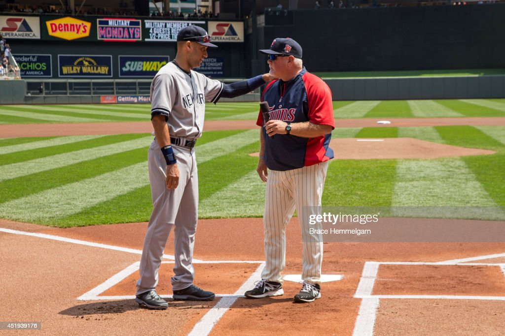 <a gi-track='captionPersonalityLinkClicked' href=/galleries/search?phrase=Ron+Gardenhire&family=editorial&specificpeople=220870 ng-click='$event.stopPropagation()'>Ron Gardenhire</a> #35 of the Minnesota Twins talks to <a gi-track='captionPersonalityLinkClicked' href=/galleries/search?phrase=Derek+Jeter&family=editorial&specificpeople=167125 ng-click='$event.stopPropagation()'>Derek Jeter</a> #2 of the New York Yankees prior to the game on July 5, 2014 at Target Field in Minneapolis, Minnesota. The Twins defeated the Yankees 2-1.
