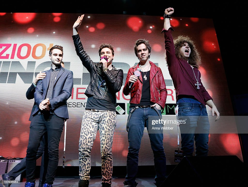 Ron Geffen, Austin Massirman, Pat Heraghty and Andre Jevnik of The All Ways onstage at the Z100 Jingle Ball 2012 Viewing Party presented by SIMPLE Mobile at The Theater at Madison Square Garden on December 7, 2012 in New York City.