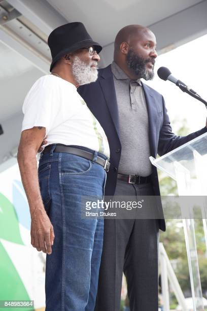 Ron Gregory and Christian Gregory attend Dick Gregory's Parade Of Life at The Legendary Howard Theatre on September 17 2017 in Washington District of...