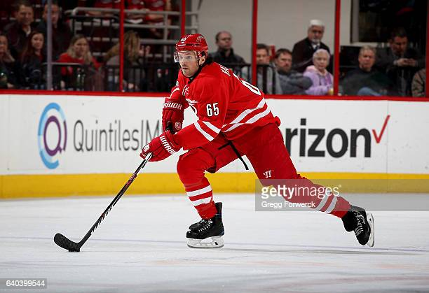 Ron Hainsey of the Carolina Hurricanes carries the puck during an NHL game against the Los Angeles Kings on January 26 2017 at PNC Arena in Raleigh...