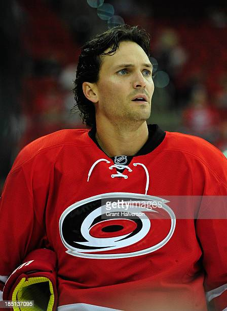 Ron Hainsey of the Carolina Hurricanes during play against the Chicago Blackhawks at PNC Arena on October 15 2013 in Raleigh North Carolina The...