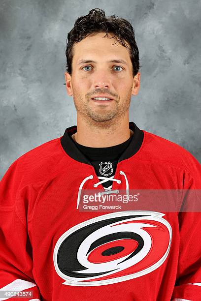 Ron Hainsey of the Carolina Hurricanes poses for his official headshot for the 20152016 season on September 17 2015 at Carolina Family Practice in...