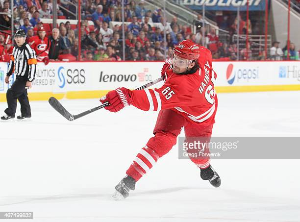 Ron Hainsey of the Carolina Hurricanes shoots the puck during their NHL game against the New York Rangers at PNC Arena on March 21 2015 in Raleigh...