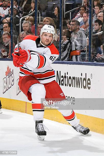 Ron Hainsey of the Carolina Hurricanes skates against the Columbus Blue Jackets on March 18 2014 at Nationwide Arena in Columbus Ohio