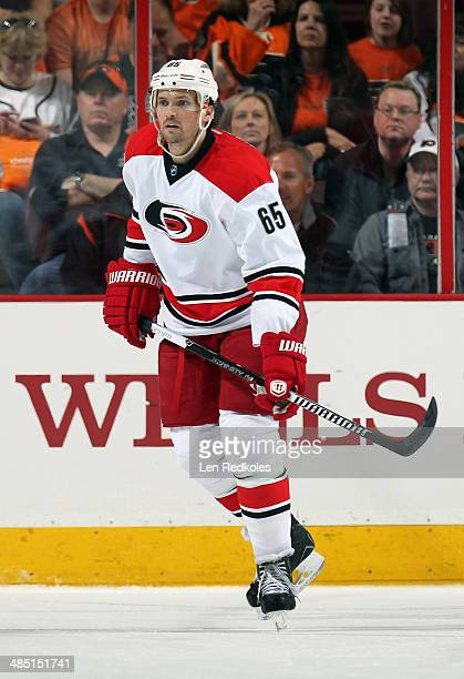 Ron Hainsey of the Carolina Hurricanes skates against the Philadelphia Flyers on April 13 2014 at the Wells Fargo Center in Philadelphia Pennsylvania