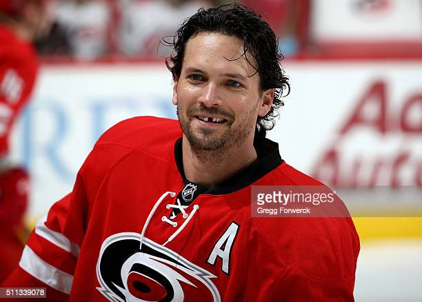 Ron Hainsey of the Carolina Hurricanes skates back to the locker room following warmups prior to an NHL game against the San Jose Sharks at PNC Arena...