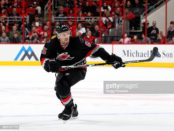 Ron Hainsey of the Carolina Hurricanes skates for position during an NHL game against the Vancouver Canucks at PNC Arena on January 15 2016 in...