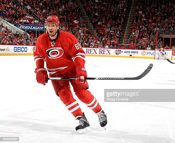 Ron Hainsey of the Carolina Hurricanes skates for position on the ice during their NHL game against the Montreal Canadiens at PNC Arena on February 8...