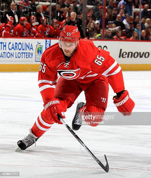 Ron Hainsey of the Carolina Hurricanes skates for position on the ice against the Buffalo Sabres during their NHL game at PNC Arena on March 13 2014...