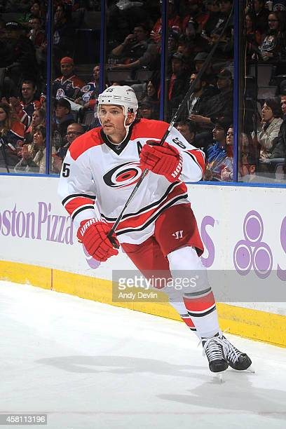 Ron Hainsey of the Carolina Hurricanes skates on the ice in a game against the Edmonton Oilers on October 24 2014 at Rexall Place in Edmonton Alberta...