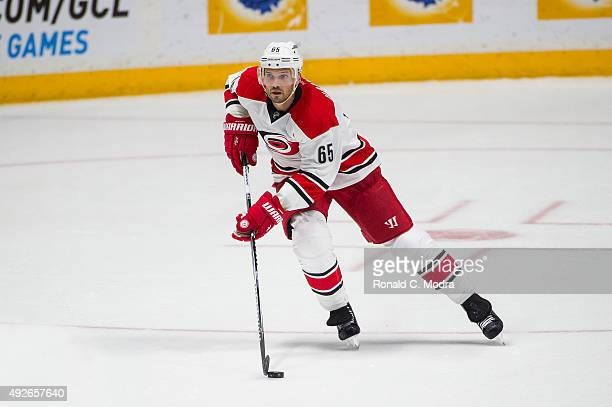 Ron Hainsey of the Carolina Hurricanes skates with the puck during a NHL game against the Nashville Predators at Bridgestone Arena on October 8 2015...