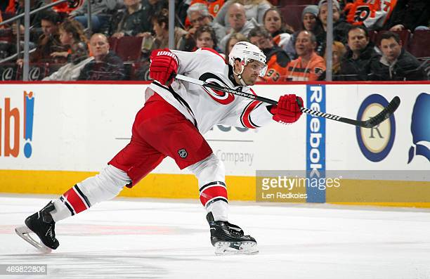 Ron Hainsey of the Carolina Hurricanes takes a slapshot against the Philadelphia Flyers on April 9 2015 at the Wells Fargo Center in Philadelphia...