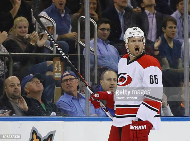 Ron Hainsey of the Carolina Hurricanes yells at the referee after receiving two minor penalties in the third period against the New York Rangers at...