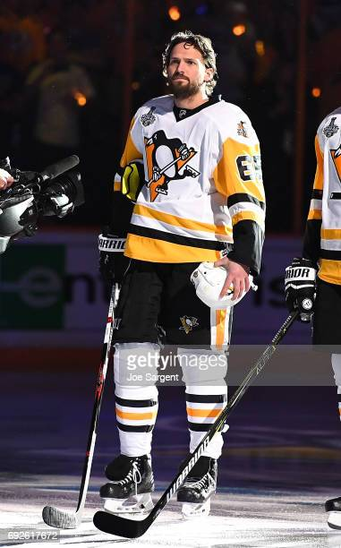 Ron Hainsey of the Pittsburgh Penguins looks on against the Nashville Predators in Game Three of the 2017 NHL Stanley Cup Final at Bridgestone Arena...