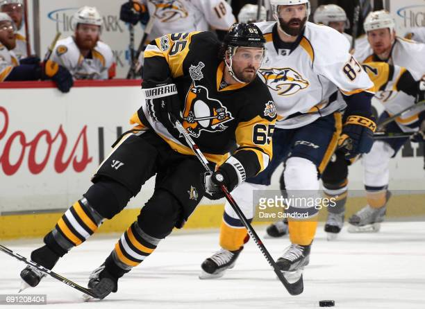 Ron Hainsey of the Pittsburgh Penguins plays in the first period of Game Two of the 2017 NHL Stanley Cup Final against the Nashville Predators at PPG...