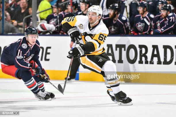 Ron Hainsey of the Pittsburgh Penguins skates against the Columbus Blue Jackets in Game Four of the Eastern Conference First Round during the 2017...