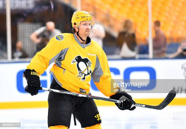 Ron Hainsey of the Pittsburgh Penguins skates during practice at Heinz Field on February 24 2017 in Pittsburgh Pennsylvania