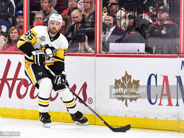 Ron Hainsey of the Pittsburgh Penguins skates the puck against the Ottawa Senators in Game Four of the Eastern Conference Final during the 2017 NHL...