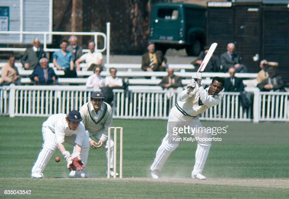 Ron Headley batting for Worcestershire during a match between Worcestershire and Yorkshire at New Road Worcester 9th May 1973 The Yorkshire fielders...