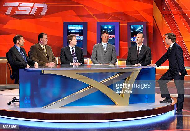 Ron Hextal Peter Mahovlich Craig Billington Dave Andreychuk and Ken Morrow take part in the NHL Draft Lottery with host James Duthie at TSN Studios...