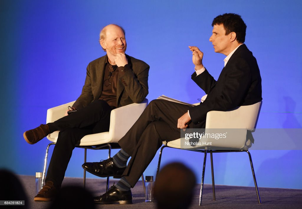 Ron Howard (L) and editor of the New Yorker David Remnick participate in a discussion onstage during the American Magazine Media Conference 2017 on February 8, 2017 in New York City.