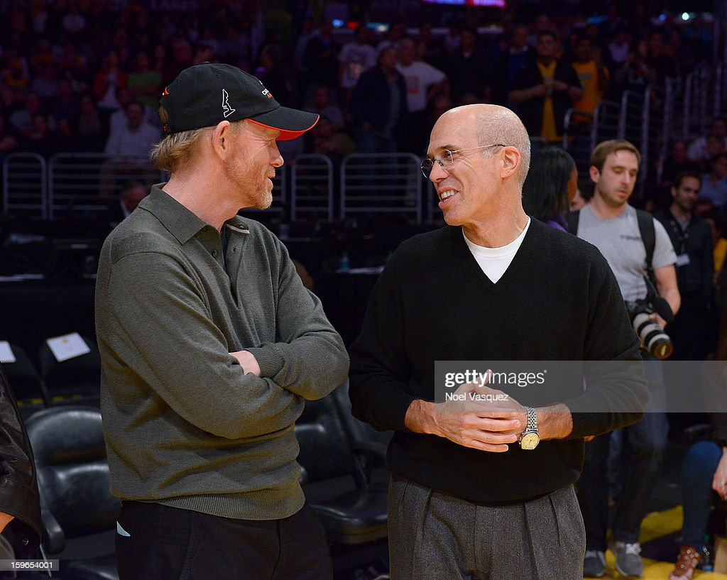 Ron Howard (L) and Jeffrey Katzenberg attend a basketball game between the Miami Heat and the Los Angeles Lakers at Staples Center on January 17, 2013 in Los Angeles, California.