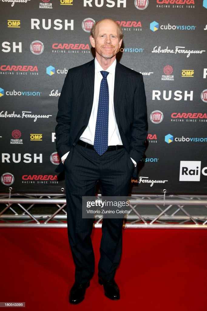 <a gi-track='captionPersonalityLinkClicked' href=/galleries/search?phrase=Ron+Howard&family=editorial&specificpeople=201972 ng-click='$event.stopPropagation()'>Ron Howard</a> attends 'Rush' The Movie Rome Premiere at Auditorium della Conciliazione on September 14, 2013 in Rome, Italy.