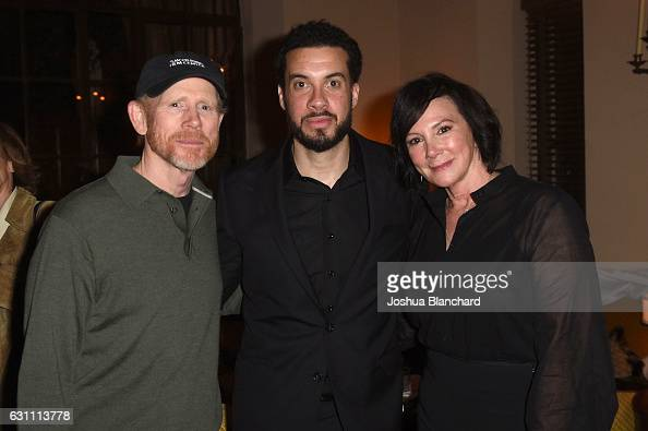 Ron Howard Ezra Edelman and Marcia Clark attend the cocktail reception to celebrate 'OJ MADE IN AMERICA' at Chateau Marmont on January 6 2017 in Los...