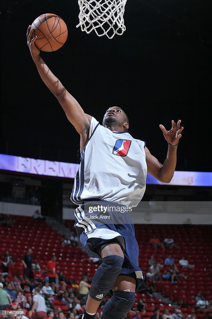 Ron Howard #4 of the D-League Select Team goes to the basket during NBA Summer League game between the D League Select and the Charlotte Bobcats on July 20, 2013 at the Thomas and Mack Center Center in Las Vegas, Nevada.