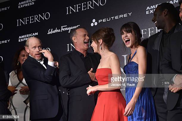 Ron Howard Tom Hanks Felicity Jones Ana Ularu and Omar Sy walk the red carpet at 'Inferno' premiere on October 8 2016 in Florence Italy