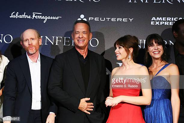 Ron Howard Tom Hanks Felicity Jones and and Ana Ularu walk the red carpet at 'Inferno' premiere at Opera Di Firenze on October 8 2016 in Florence...
