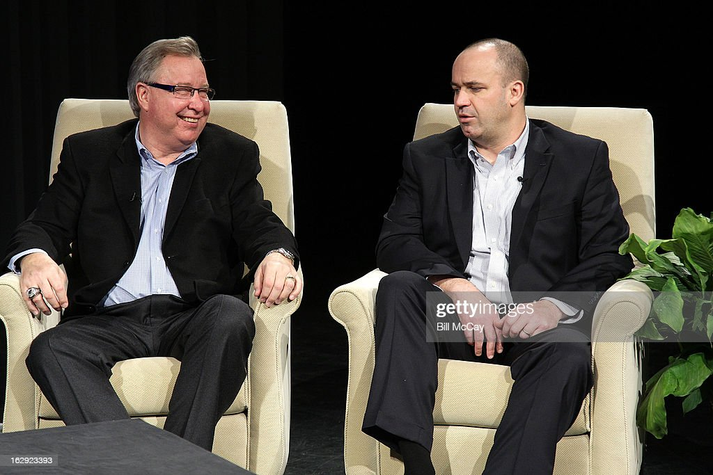 Ron Jaworski and Bill O'Brien attend the Stars of Maxwell Football Club Discussion Table on March 1, 2013 in Atlantic City, New Jersey.