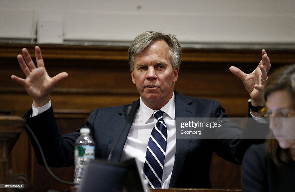 Ron Johnson, chief executive officer of J.C. Penney Co., testifies at State Supreme court in New York, U.S., on Friday, March 1, 2013. Johnson took the witness stand to testify in a dispute between his department-store chain and Macy's Inc. over the right to sell Martha Stewart Living Omnimedia Inc. merchandise. Photographer: Thomas Iannaccone/Pool via Bloomberg