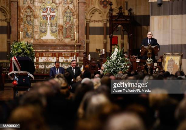 Ron Joseph addresses the crowd during the former Collingwood legend Lou Richards state funeral at St Paul's Cathedral on May 17 2017 in Melbourne...