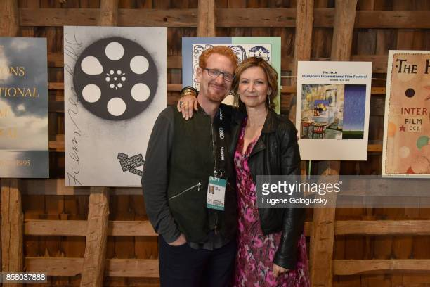 Ron Kaplan and Toni Ross attend the Pre Opening Toast Poster Exhibition during Hamptons International Film Festival 2017 Day One at Mulford Farm on...