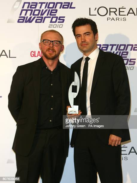 Ron Livingston with the Breakthrough Movie award received for The Time Traveler's Wife with Simon Pegg at the 2010 National Movie Awards at the Royal...